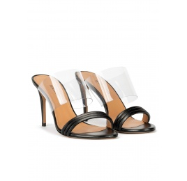 Sandales à talons hauts en cuir noir et vinyle Pura López