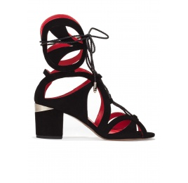Lace-up mid chunky heel sandals in black suede Pura López