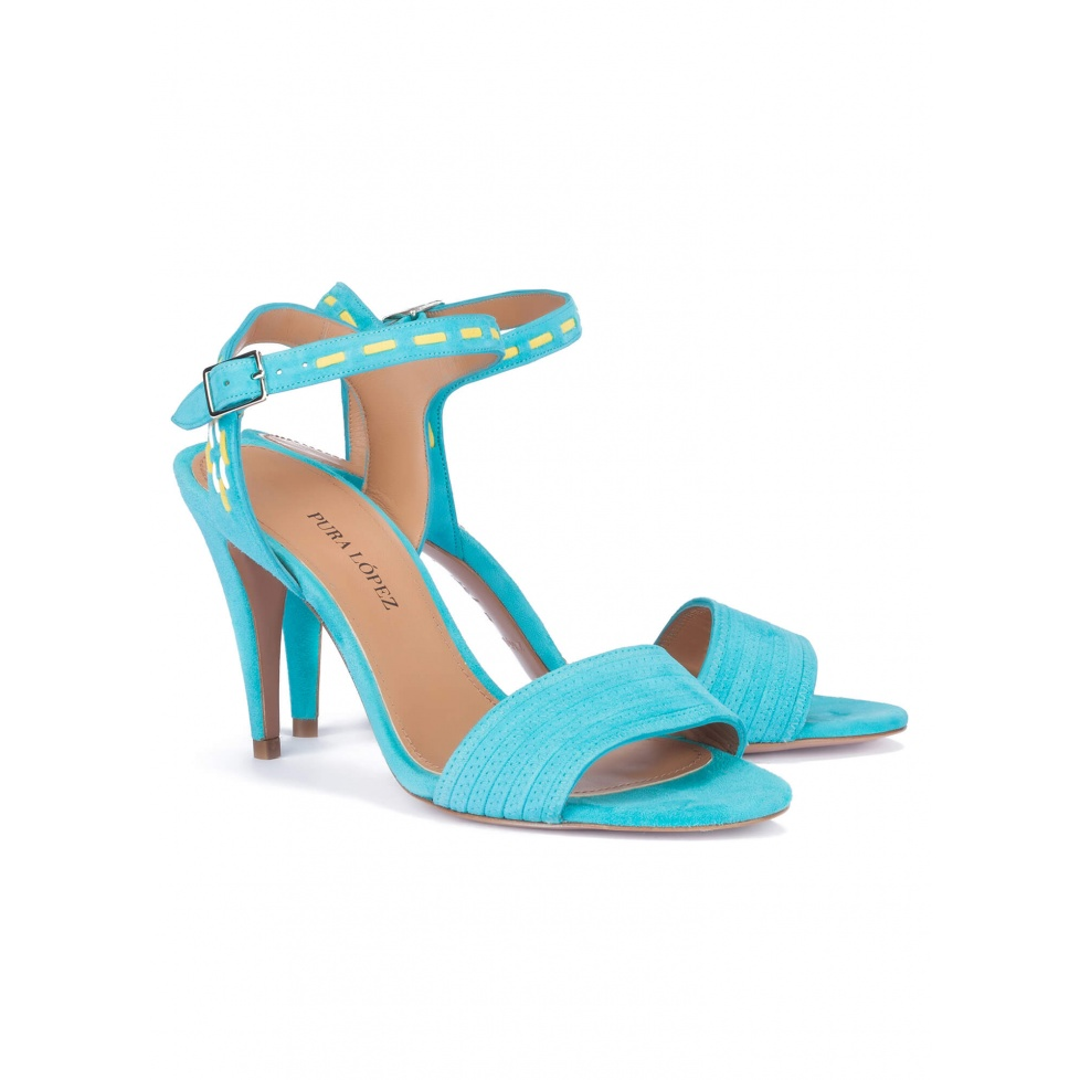 Heeled sandals in turquoise suede - online shoe store Pura Lopez