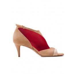 Two-tone suede mid heel sandals Pura López