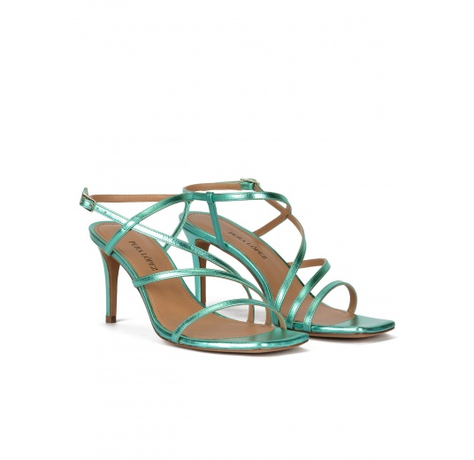 Squared-off toe mid heel sandals in aquamarine metallic leather Pura López