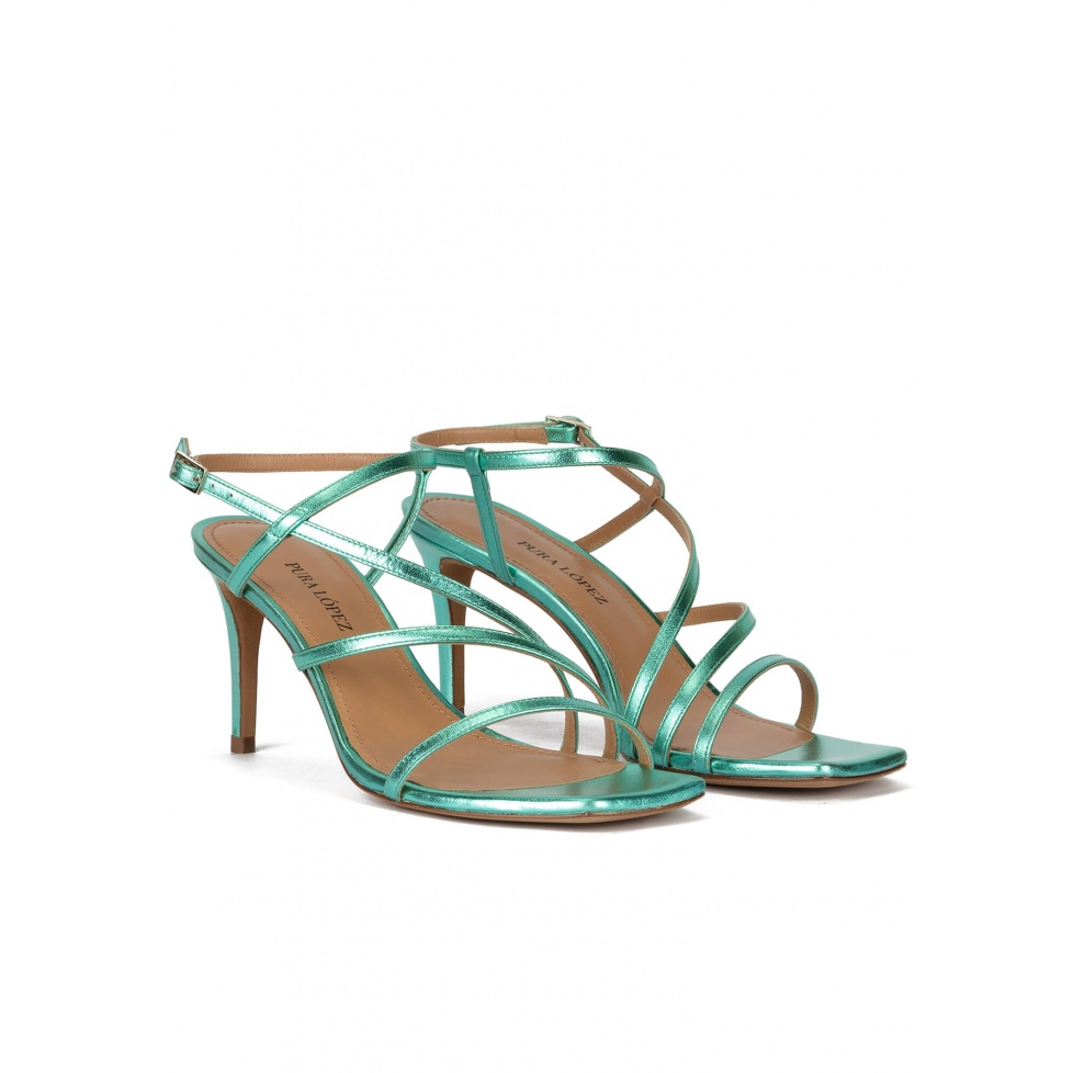 Squared-off toe mid heel sandals in aquamarine leather