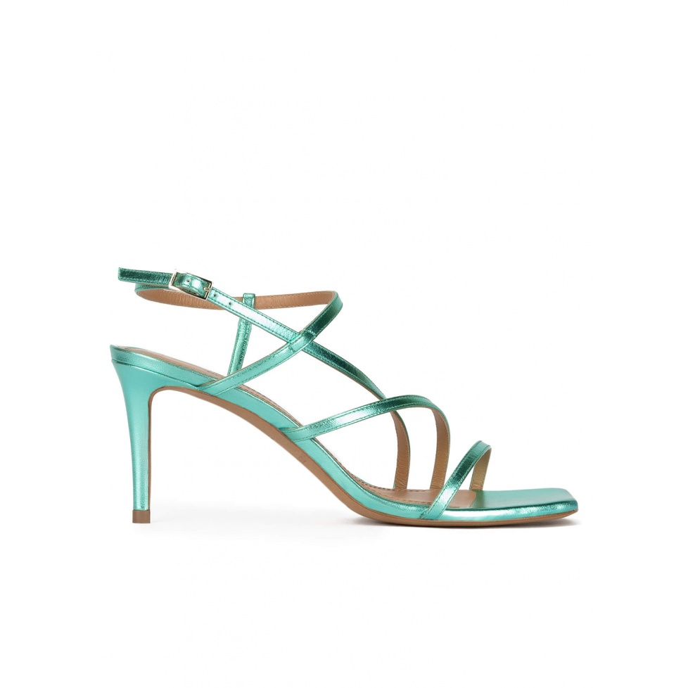 Squared-off toe mid heel sandals in aquamarine metallic leather