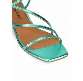 Strappy mid heel sandals in aquamarine metallic leather Pura López