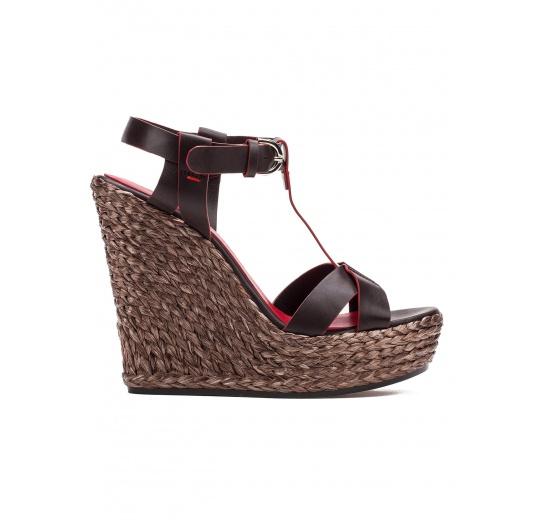Wedge sandals in dark brown leather Pura L�pez