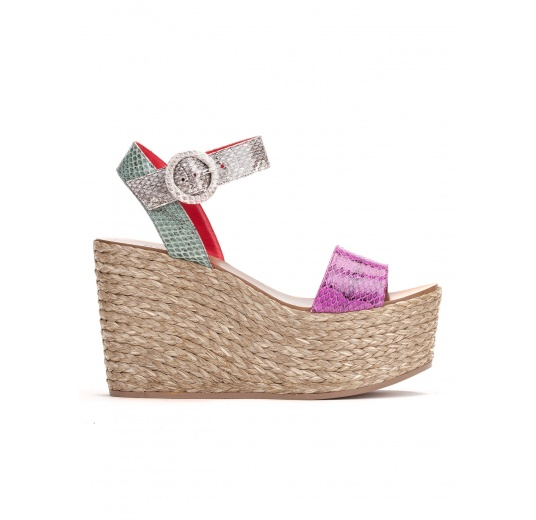 Wedge sandals in multicolored snake leather Pura L�pez