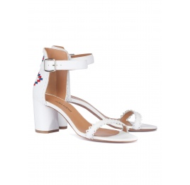 White ankle strap block heel sandals Pura López