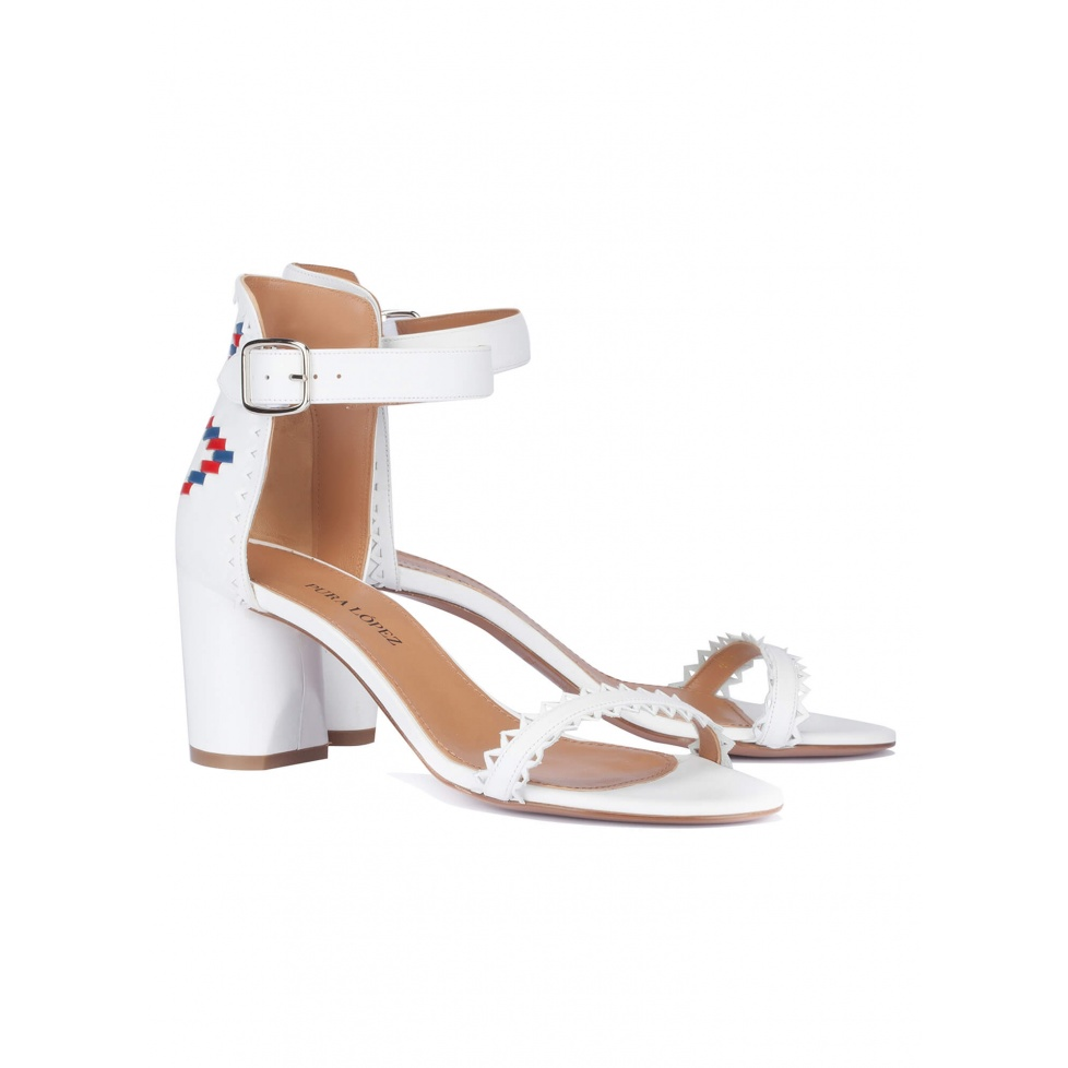 White tribal mid heel sandals - online shoe store Pura Lopez