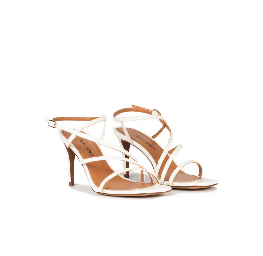 Off-white leather strappy mid heel sandals Pura López