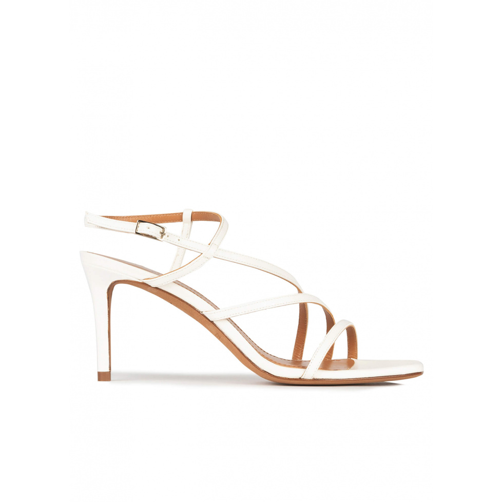 Off-white leather strappy mid heel sandals