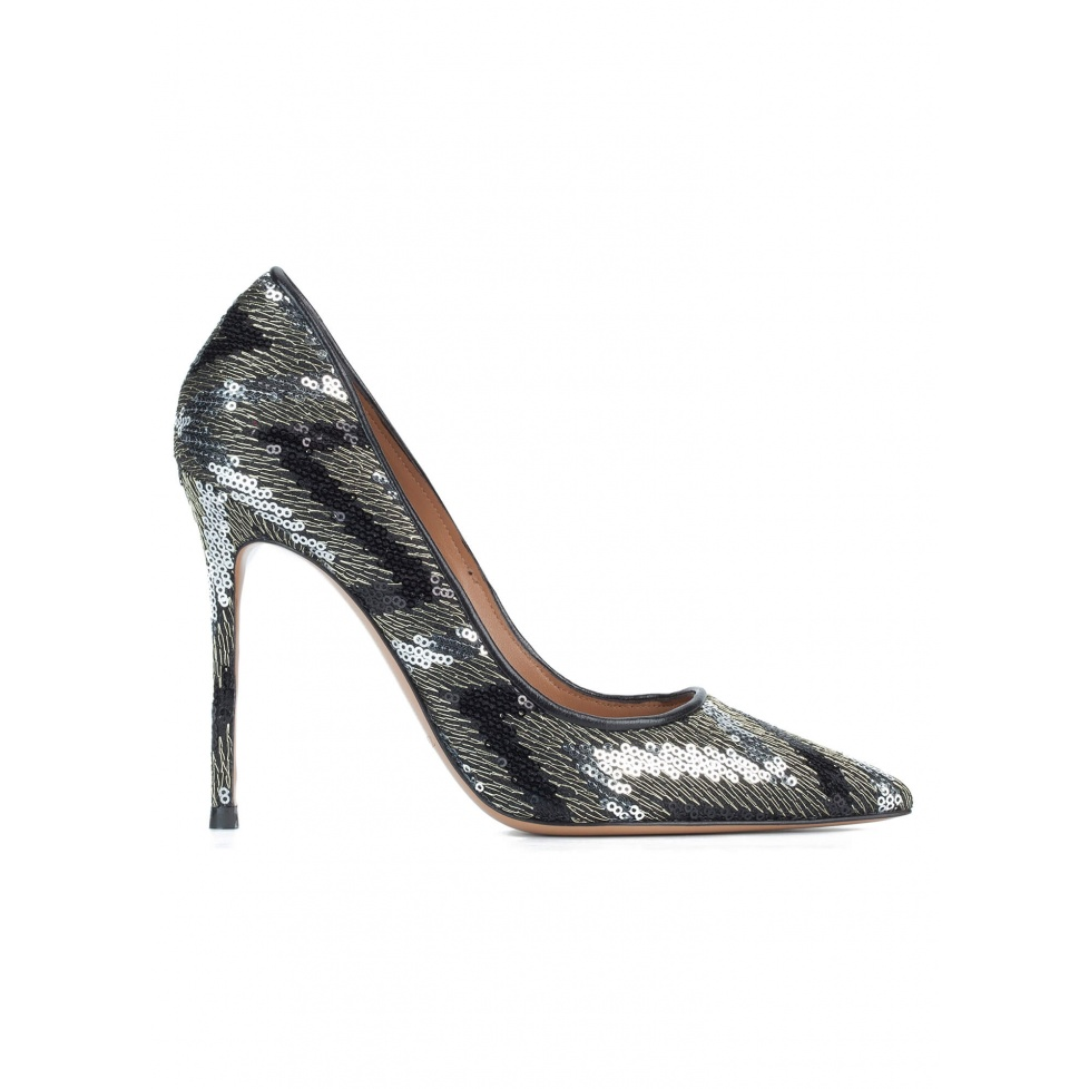 Sequined high heel stiletto pumps