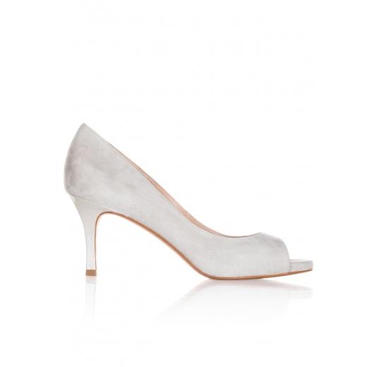 Mid heel peep toes in grey suede Pura L�pez