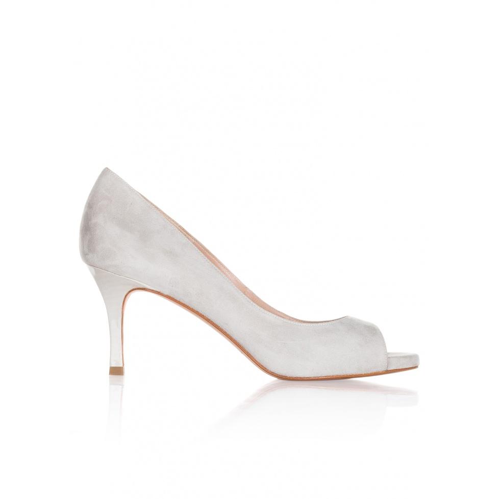 Peep toes de tacón medio en ante gris