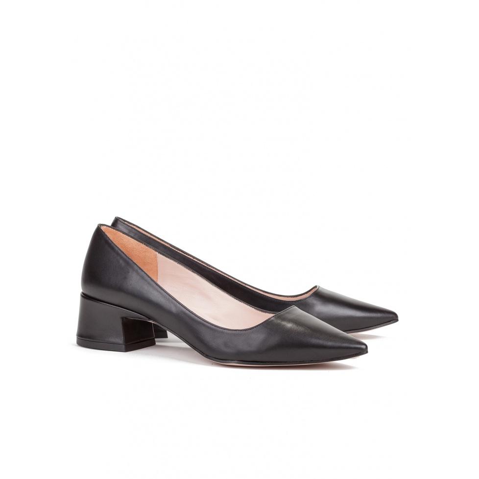 Mid heel shoes in black leather - online shoe store Pura Lopez