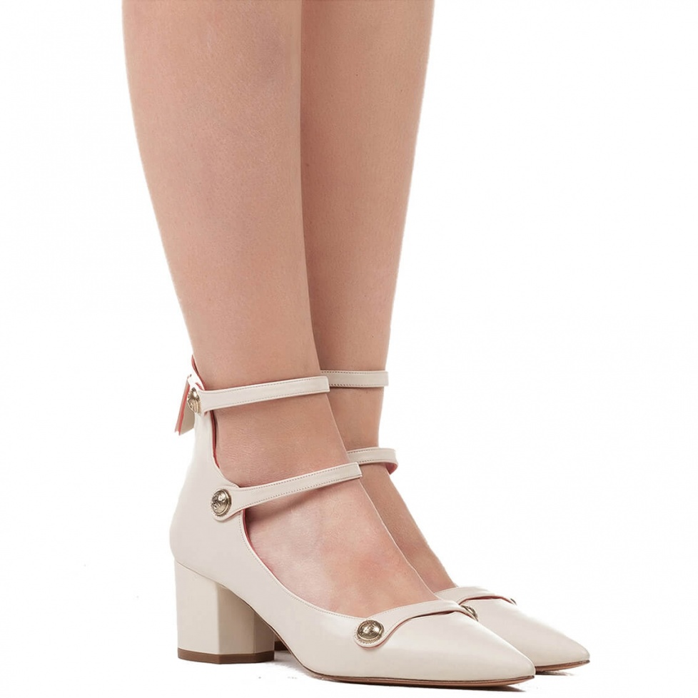 Mid heel shoes in cream leather - online shoe store Pura Lopez