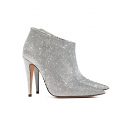 High heel ankle boots in silver glitter Pura López