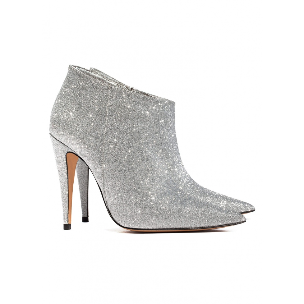 Silver high heel ankle boots - online shoe store Pura Lopez