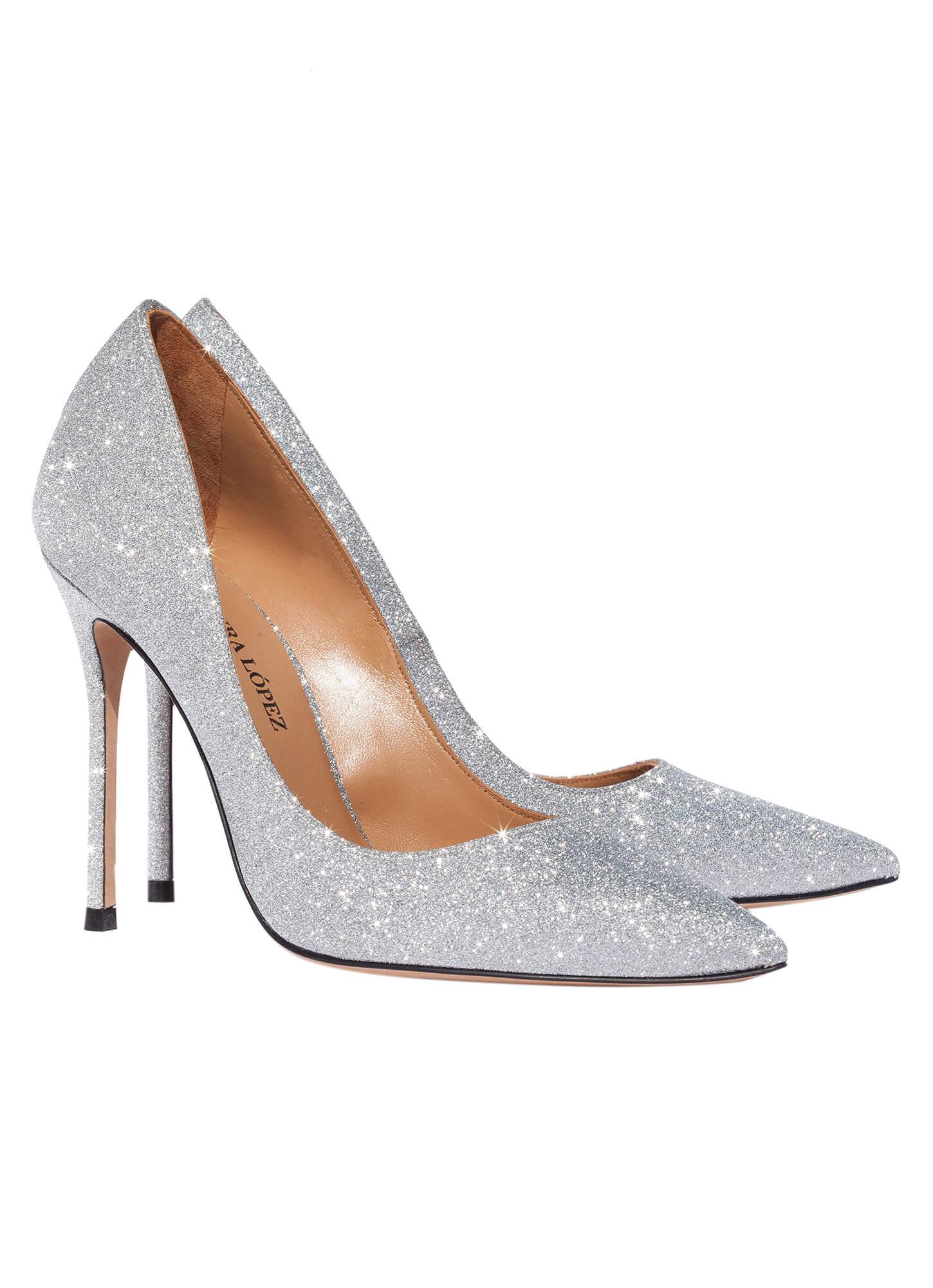 high heel pumps in silver glitter online shoe store pura. Black Bedroom Furniture Sets. Home Design Ideas