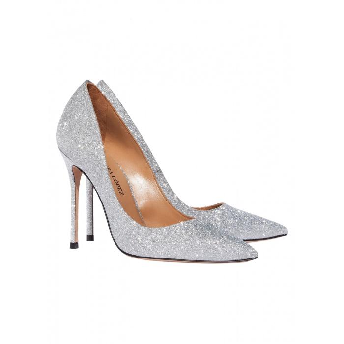 High heel pumps in silver glitter - online shoe store Pura Lopez