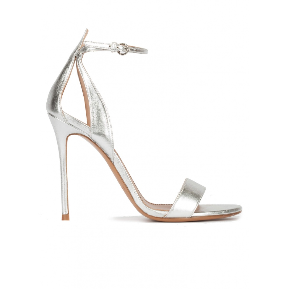 Ankle strap high heel sandals in silver metallic leather