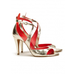 Strappy high heel sandals in platin metallic snake leather Pura López