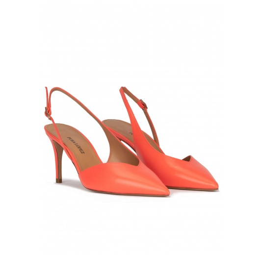 Asymmetric slingback pumps in coral leather Pura López