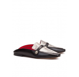 Flat mule shoes in black leather and snake leather Pura López