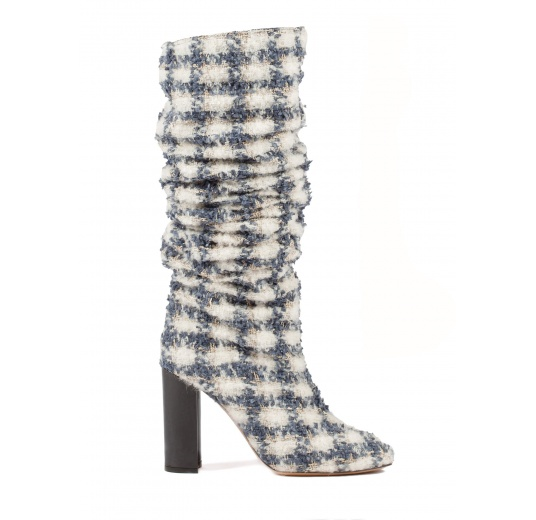 Checked fabric slouchy knee-high block heel boots Pura L�pez