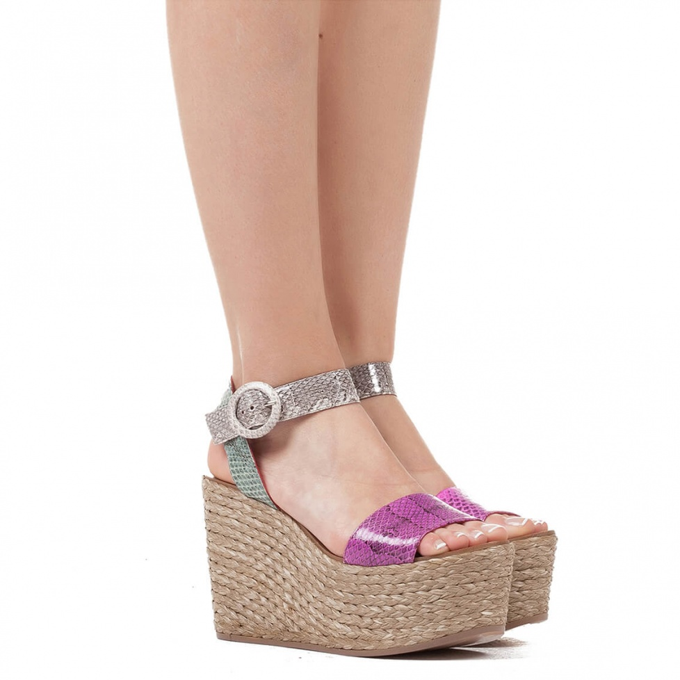 Wedge sandals in snake leather - online shoe store Pura Lopez