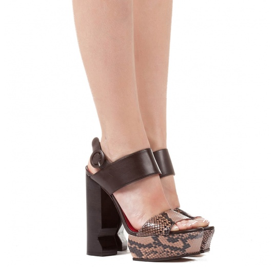 High block heel sandals in nude snake leather and brown leather Pura L�pez