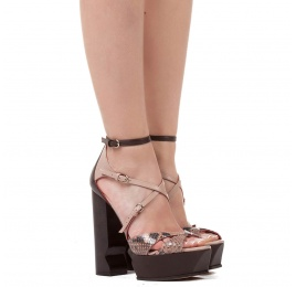High block heel sandals in nude and brown leather and snake leather Pura López