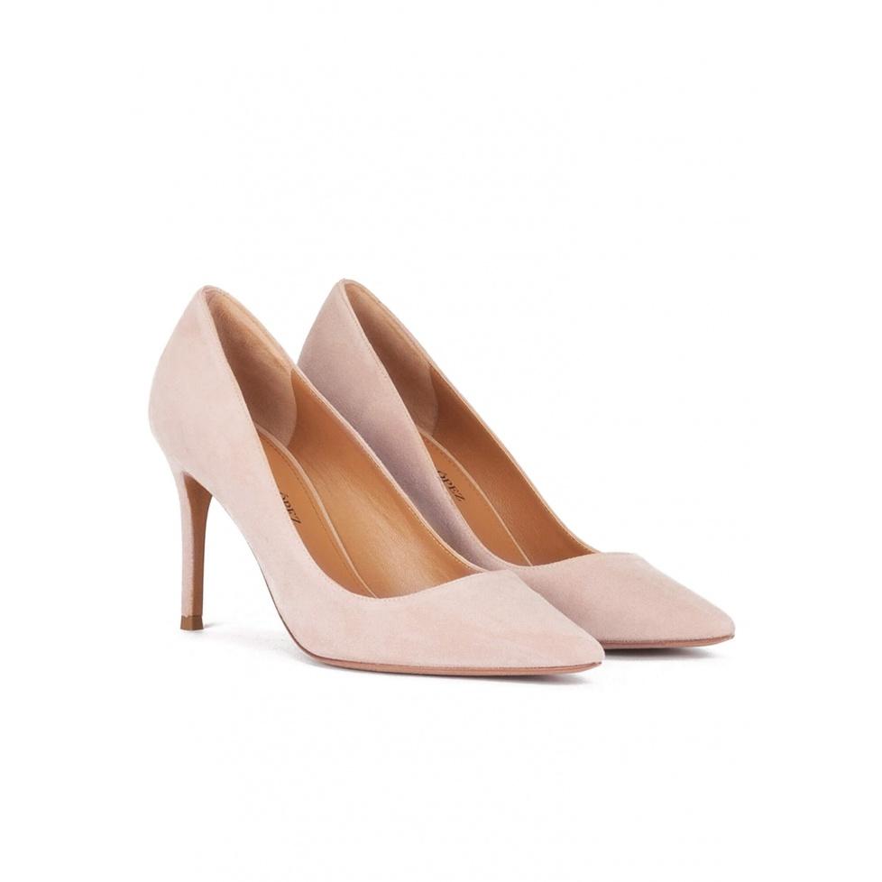 Zapatos de tacón de 90mm y punta fina en ante nude