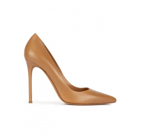 Point-toe high stiletto heel pumps in camel leather Pura L�pez