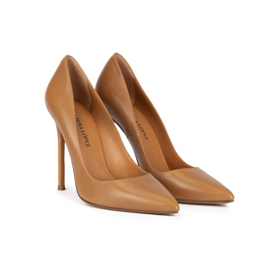 Point-toe high stiletto heel pumps in camel leather