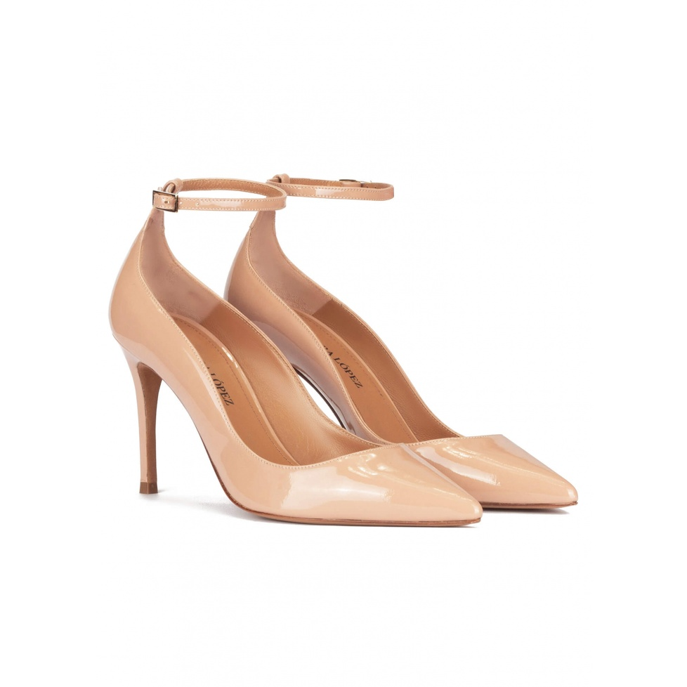 Ankle strap high heel pointy toe shoes in nude patent