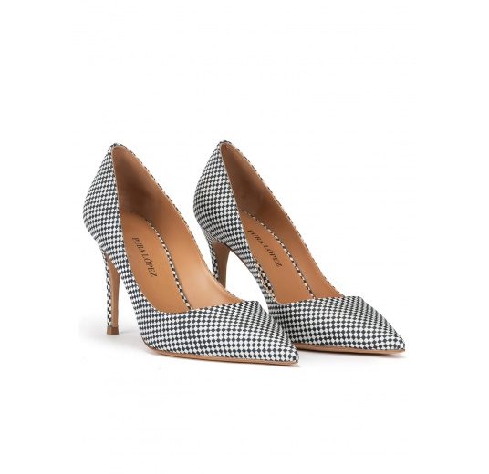 Point-toe high heel pumps in white-blue checked fabric Pura López