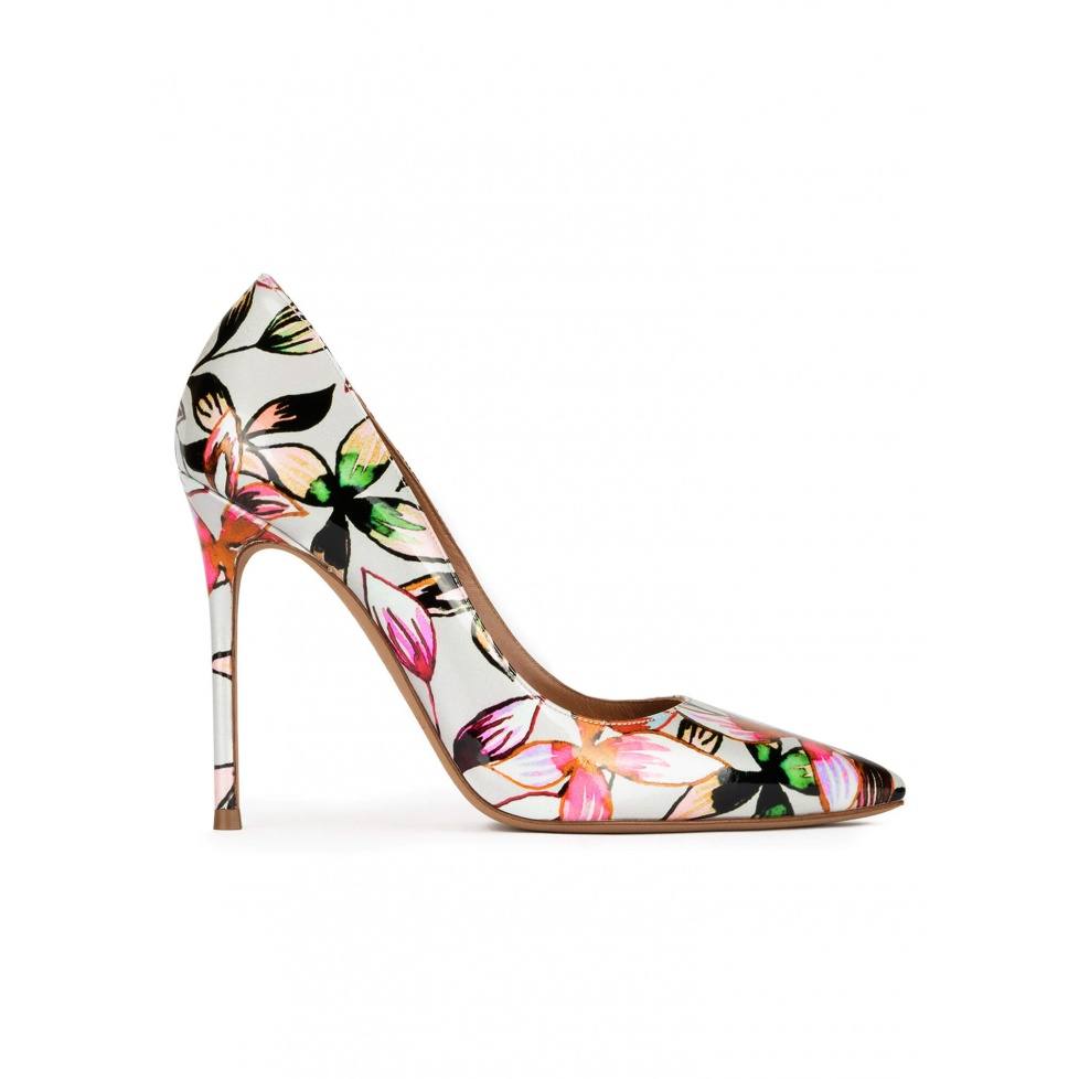 Floral print point-toe slim stiletto heel
