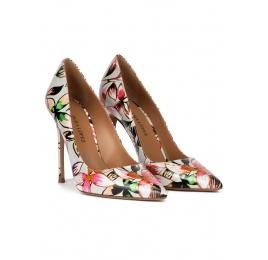 Zapatos de punta con tacón fino de 11 cms con estampado floral Pura López
