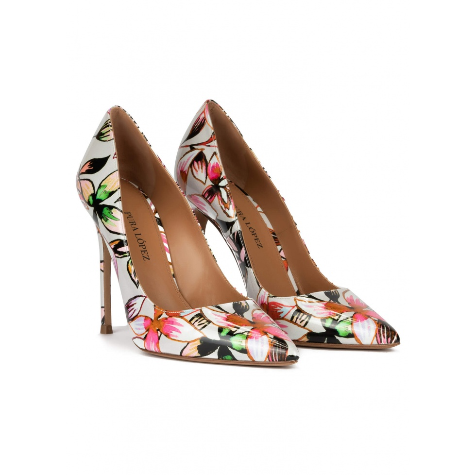 Zapatos de punta con tacón fino de 11 cms con flores