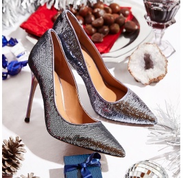 Pointy toe heeled pumps in silver paillette Pura López