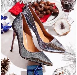 Zapatos plateados de tacón y punta fina en paillette  Pura López