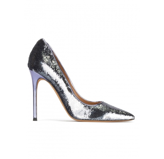 Pointy toe heeled pumps in silver paillette Pura L�pez