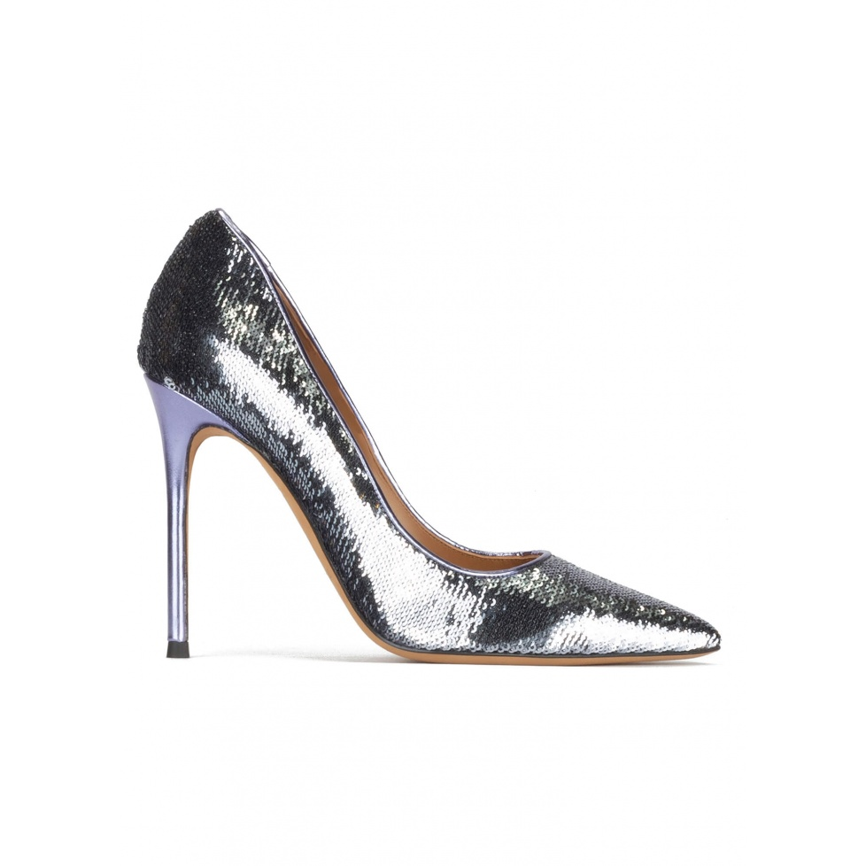 Pointy toe heeled pumps in silver paillette