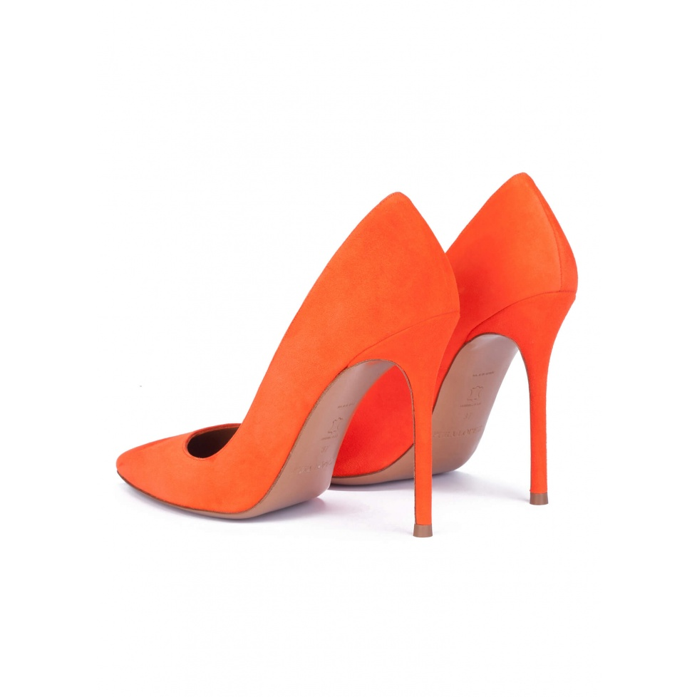 Orange suede pointy toe stiletto pumps