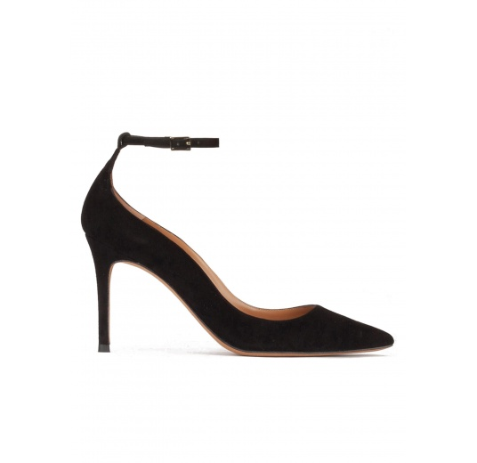 Ankle strap high heel point-toe shoes in black suede Pura L�pez