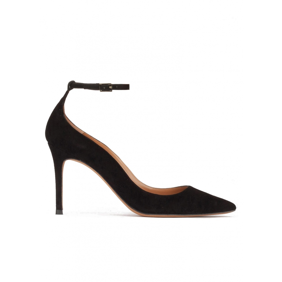 Ankle strap high heel point-toe shoes in black suede