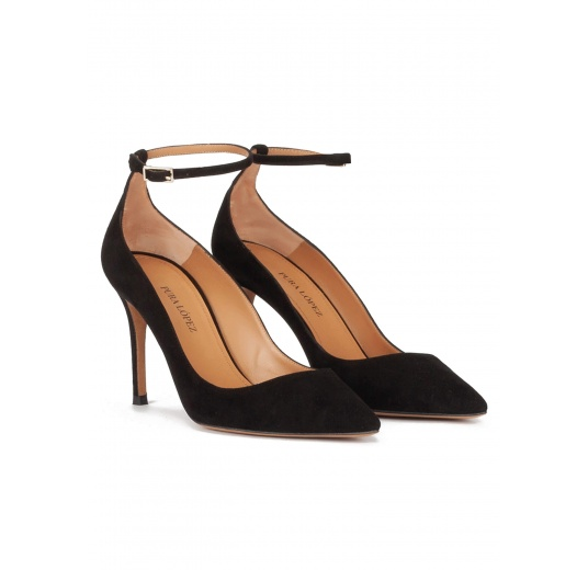 Ankle strap high heel point-toe shoes in black suede Pura López