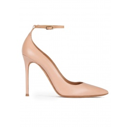 Nude leather ankle strap high heel pointy toe shoes Pura López