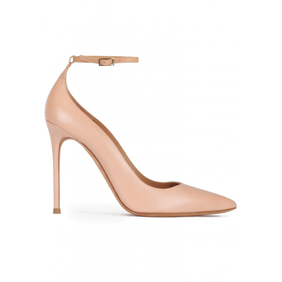 Nude leather ankle strap high heel pointy toe shoes