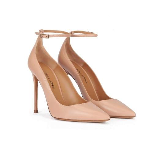Nude leather ankle strap high heel pointy toe shoes Pura L�pez